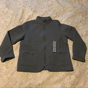 Charter Club Womens Charcoal Grey Quilted Jacket